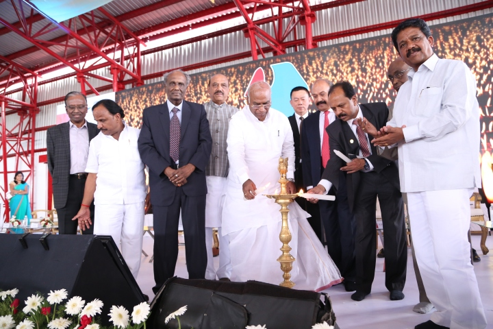 Sri. Mallikarjun Kharge, Mp and Opposition leader of Loksabha Inaugarating Animal Feed Plant- Rajashri Foods