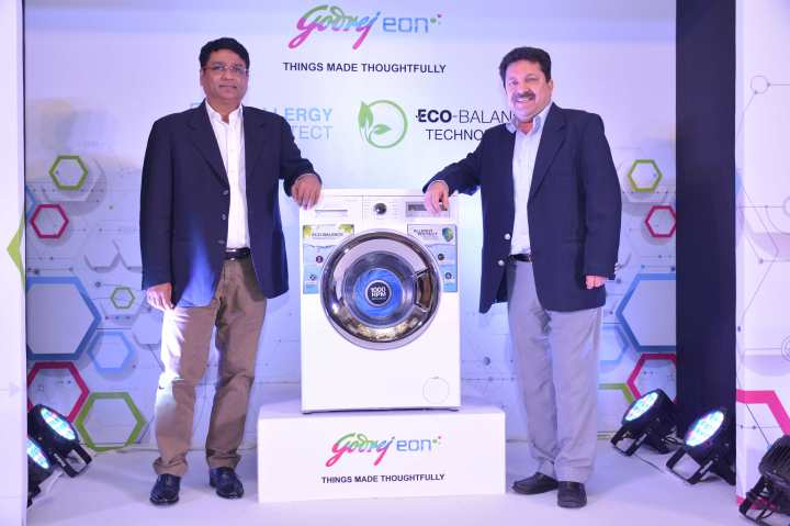 L-R Mr.Sanjeev Jain,National Sales Head,Godrej appliances and Mr.Rakesh Sial,Product Group Head,Godrej Appliances at the launch of its new range Front Load Washing Machine with Allergy p