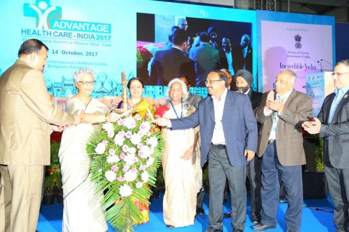 Pic 1 Lighting Lamp-(L-R) Mr Gaurav Gupta,Rita Teaotia,Dr Shalini Rajneesh,Ms Sangeeta Godbole