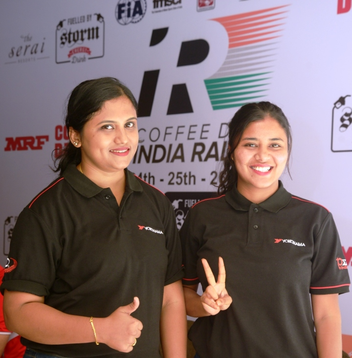 From Right- Harshitha Gowda and her co-driver Bindu Prakash, thrilled to participate in the upcoming Coffee Day India Rally 2017