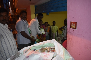 Mr.V.Narayanaswamy, JDS Candidate during canvass in Agrahara near Ghandhinagar, Bengaluru.