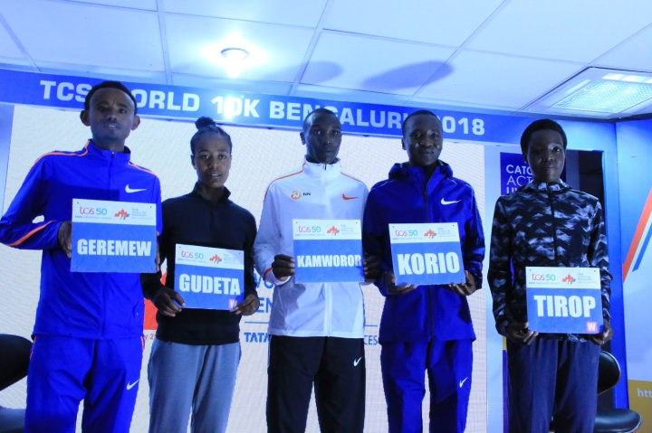 Mosinet Geremew, Netsanet Gudeta, Geoffrey Kamworor, Alex Korio& Agnes Tirop at the TCS World 10K Bengaluru 2018 press conference 1