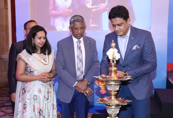 Mr. Anil Kumble, Dr V. Mohan and Dr. R.M. Anjana inugrating event