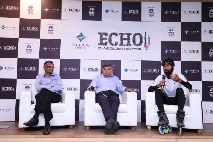 Left to Right- Mr. N. E. Sridhar, AVP & Head, Corporate Sustainability, Titan Company Limited, Mr. Bhaskar Bhat, MD, Titan Company Limited, Mr. Rana Uppalapati, International skater